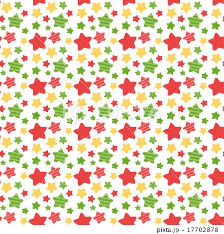 クリスマスカラーのかわいい系星柄シームレス連続繰り返しパターン