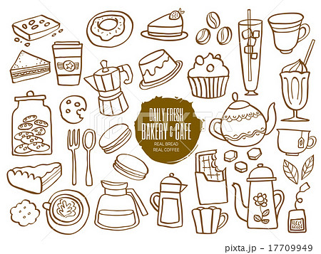 Sweets Bakery Cafe Coffee Drinks Doodlesのイラスト素材 17709949
