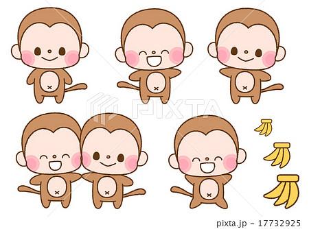 かわいい系 猿のデフォルメキャラクターイラストカット セット素材 背景