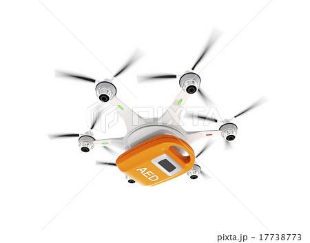 AED搭載ドローンによる緊急救助活動コンセプト。白バックバージョン。