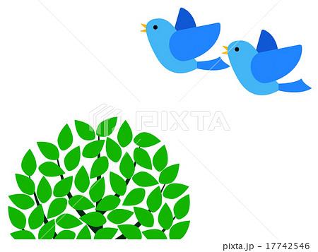 羽ばたく二羽の青い鳥のイラスト素材 17742546 Pixta