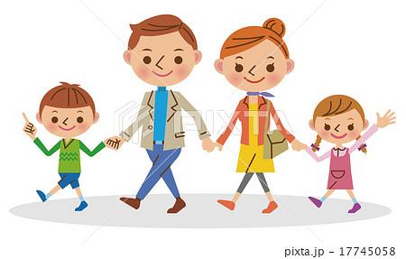 手をつないで歩く4人家族 17745058