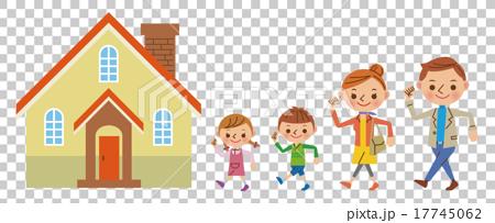 家に向かう4人家族 17745062