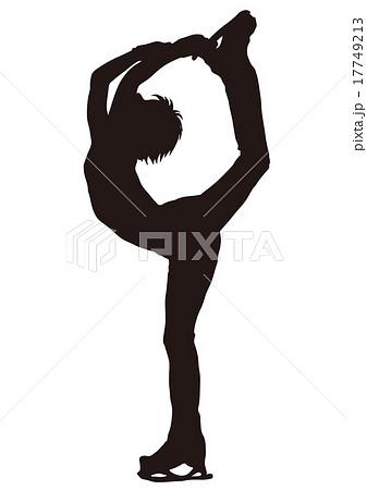 フィギュアスケート シルエット 男性選手07のイラスト素材 17749213