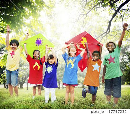 Children Flying Kite Playful Friendship Concept