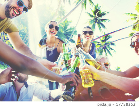 Friends Summer Beach Party Cheers Concept