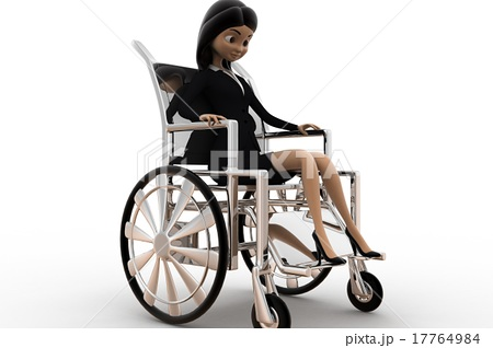 3d woman on wheel chair conceptのイラスト素材 [17764984] - PIXTA