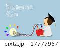 リンゴの電池で電球をつける 子供博士 17777967