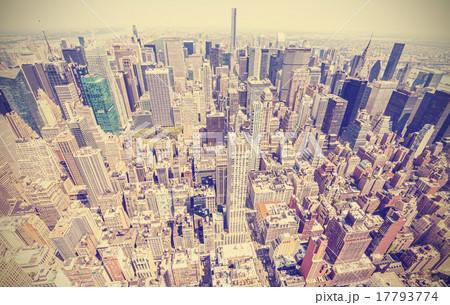 Retro stylized aerial view of Manhattan, New York