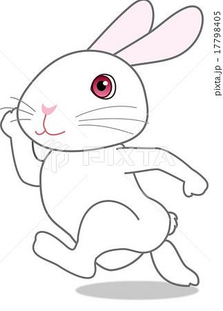 走りながら振り返るウサギ ダ鳥獣戯画