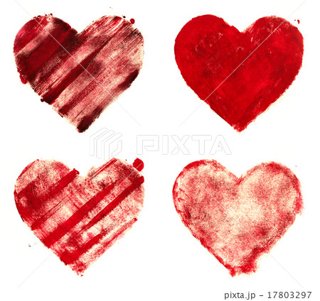 grunge painted red heart shapes set 17803297