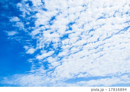 雲 綿雲 積雲 層積雲もしくは高積雲 青い空 白い雲 秋の空 背景用素材 クラウド 青空 合成用背景 17816894