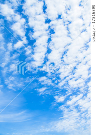 雲 綿雲 積雲 層積雲もしくは高積雲 青い空 白い雲 秋の空 背景用素材 クラウド 青空 合成用背景 17816899