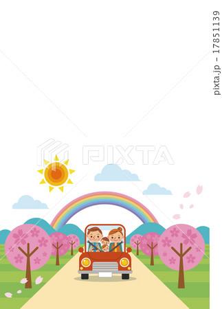 ドライブを楽しむ家族(春) 17851139