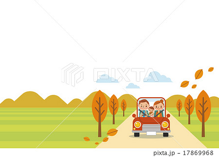 ドライブを楽しむ家族(秋・ヨコ)白バック 17869968