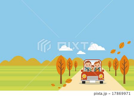 ドライブを楽しむ家族(秋・ヨコ)青空バック 17869971