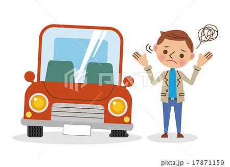 パンクした車と困っている男性 17871159