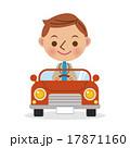 車に乗った笑顔の男性(デフォルメ) 17871160