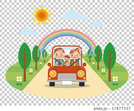 ドライブを楽しむ家族(春・夏) 17877337