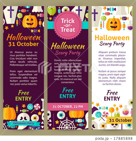 halloween vector party invitation template flyer のイラスト素材