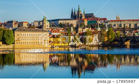 View of Mala Strana and  Prague castle over Vltava