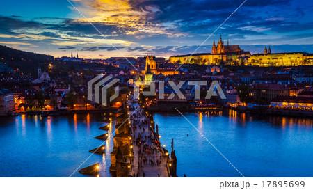 Night view of Prague castle and Charles Bridge