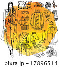 Girl and street fashion clothing set.Sketchy in 17896514