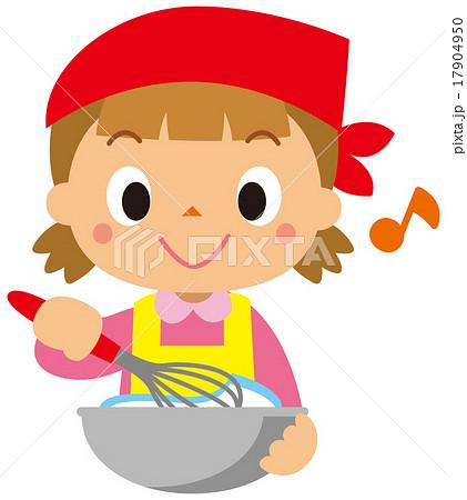 料理する女の子のイラスト素材 17904950 Pixta