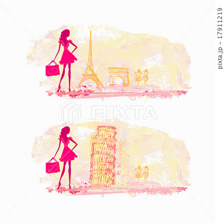 women silhouette Shopping in France and Italyのイラスト素材 [17911219] - PIXTA