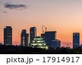 夕焼けの名古屋城と高層ビル群 17914917
