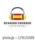 Vector spanish courses logo concept with flag and 17915389