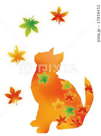 秋 紅葉と戯れる猫 01のイラスト素材 17939452 Pixta