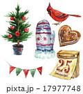 Watercolor vintage Christmas set, holiday 17977748