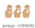 鏡餅とお年玉を持つ子猿 17978293