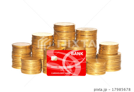 golden coins and red credit card isolated on whiteの写真素材 [17985678] - PIXTA