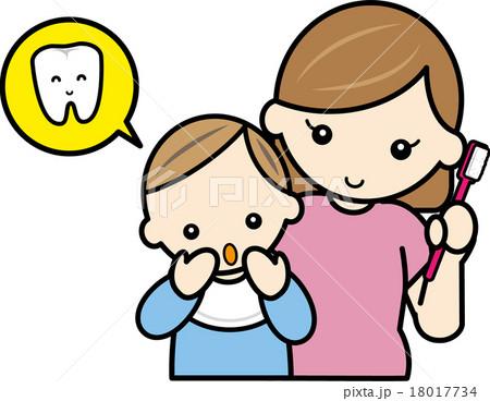 赤ちゃんの歯磨きをするママ 18017734