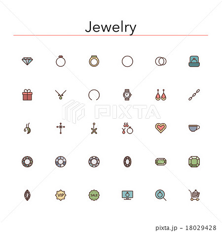 Jewelry Colored Line Icons 18029428
