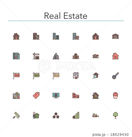 Real Estate Colored Line Icons 18029430