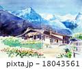 スイス観光 スイスアルプスのスケッチ 18043561