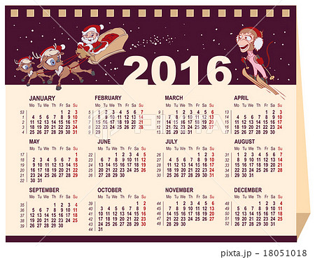 2016 calendar desk calendarのイラスト素材 18051018 pixta