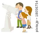 天体観測 家族 天体望遠鏡のイラスト 18056754