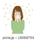 女性 鼻をかむ 花粉症のイラスト 18068704