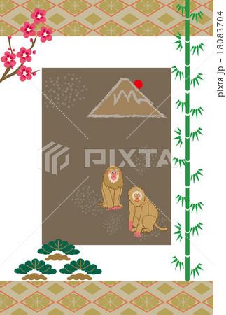 和風の申年の猿と富士山のイラスト年賀状デザインのイラスト素材 [18083704] - PIXTA