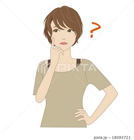 頬に指を当て悩む女性のイラスト素材 18093721 Pixta