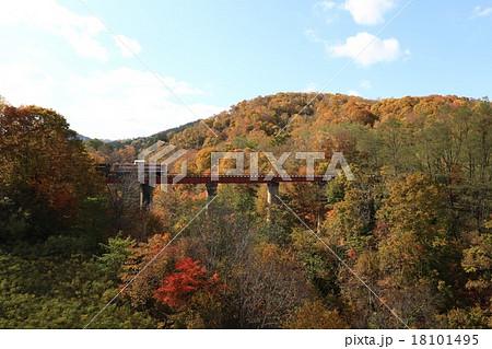三井芦別鉄道・炭山川橋梁に保存されるディーゼル機関車DD501と石炭貨車セキ3000 18101495