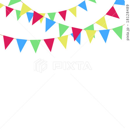 Multicolored bright buntings garlands on whiteのイラスト素材 [18128489] - PIXTA