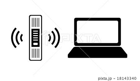 無線lan ルータ とノートパソコンのイラスト素材 18143340 Pixta