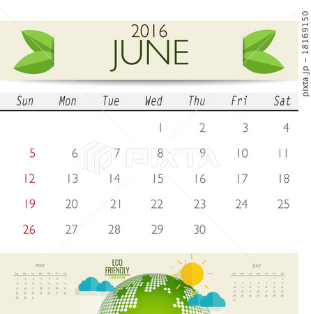 2016 calendar monthly calendar template for june vector illustの