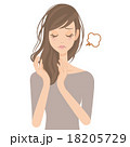 ヘアケアをする女性の寝癖 18205729