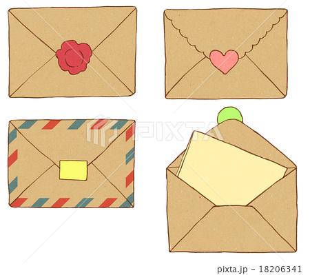 クラフト紙のレターセットのイラスト素材 18206341 Pixta